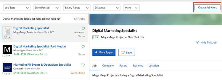 When you search for a job, you can create an automatic job alert on most platforms.