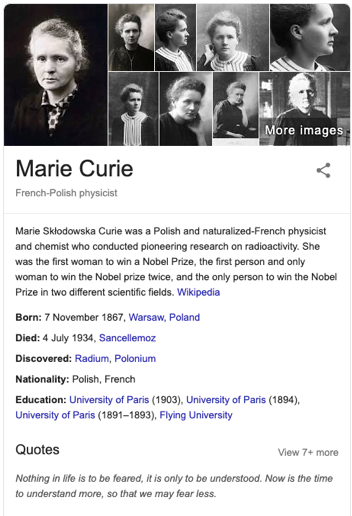 marie curie google results