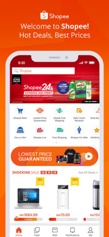 shopee app landing page