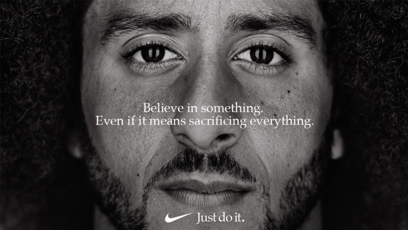 Nike's ad with Kaepernick: Believe in something. Even if it means sacrificing everything.