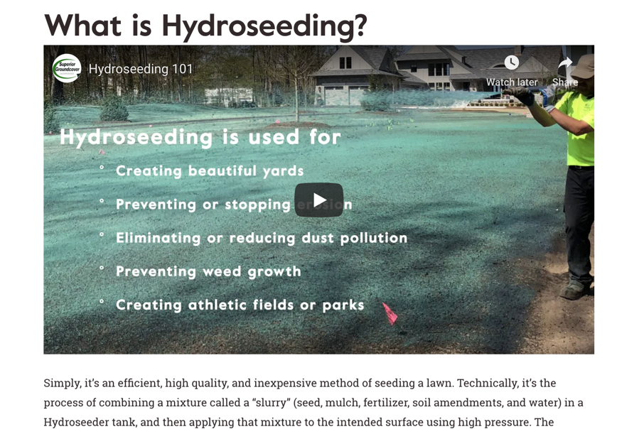 What is Hyrdoseeding?