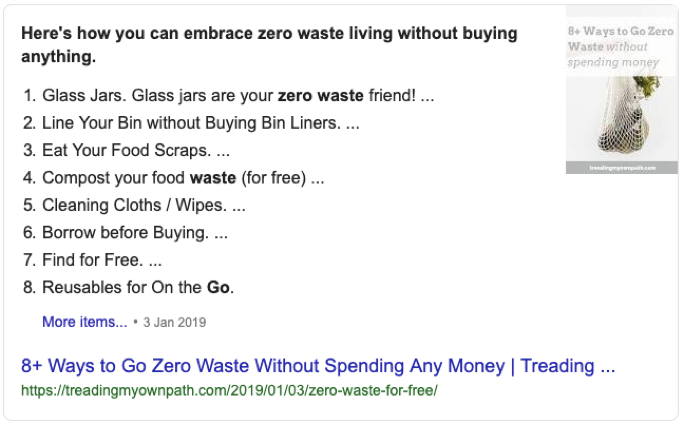featured snippet google example