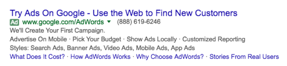 ad extensions example