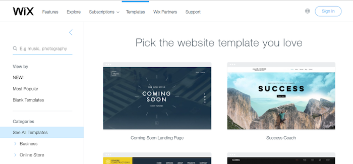 Wix Pick the website template you love
