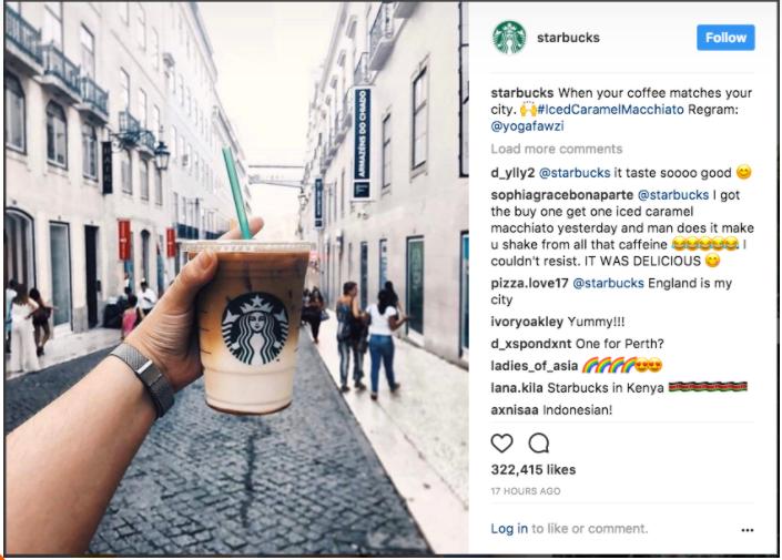Starbucks Instagram Ad with Emojis