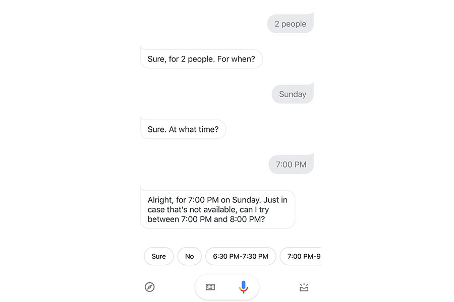 Screenshot of Google Duplex