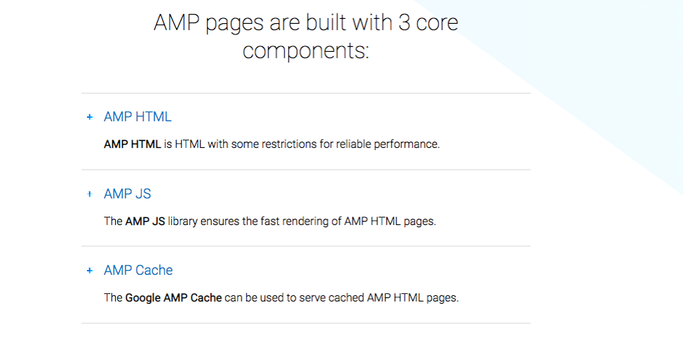 AMP pages are built with three core components