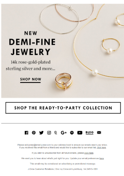 J.Crew social media channels in email