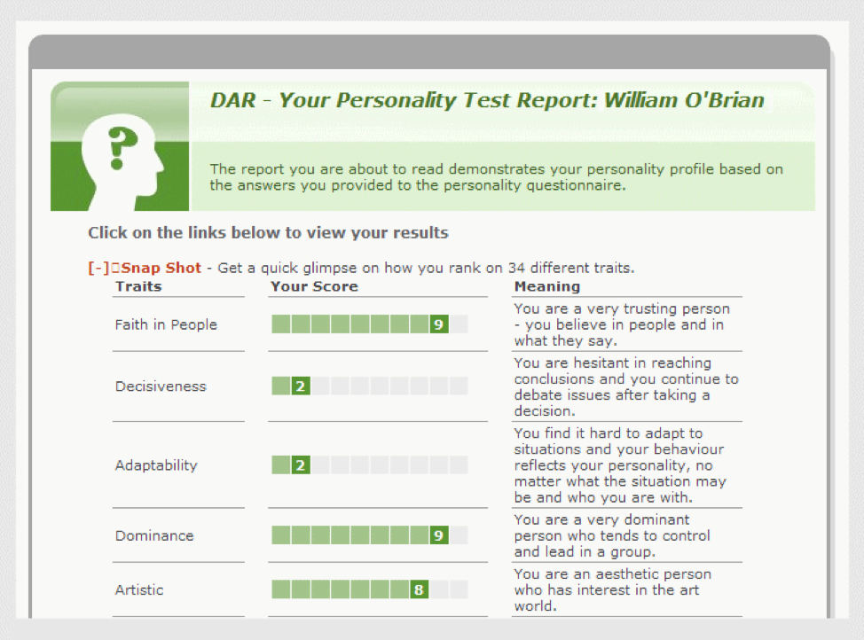 DAR - Your Personality Test Report