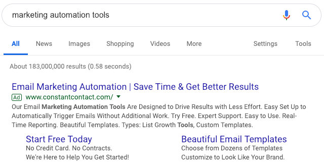 Marketing Automation Tools SERP