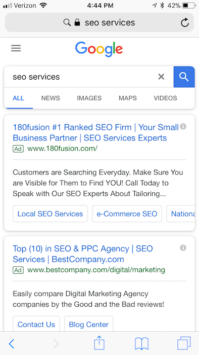 """seo services"" mobile above-the-fold SERP"