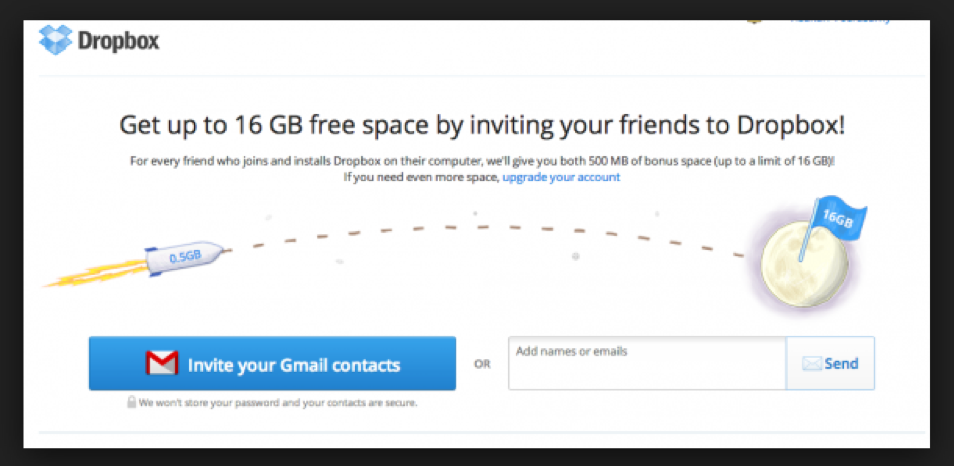 Referral programs, such as the one Dropbox promotes, drive word-of-mouth marketing