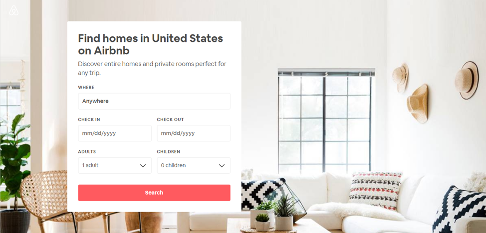 Airbnb's website offers a clean and simple user interface for guests and hosts.