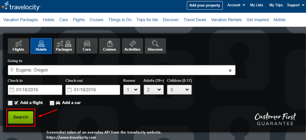 The search function API on Travelocity consolidates information found across the web.