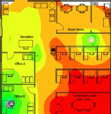 A Wi-Fi heatmap of an office in an urban area.