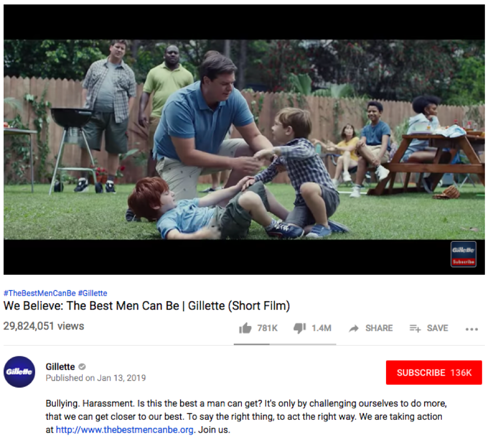 "Gillette's 2019 ""The Best a Man Can Be"" commercial received both praise and criticisms."