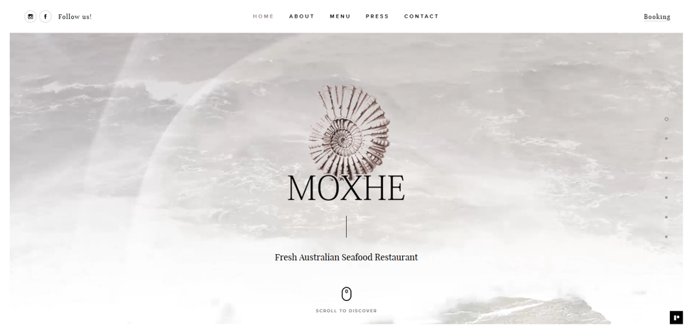 Moxhe's website uses minimalist design