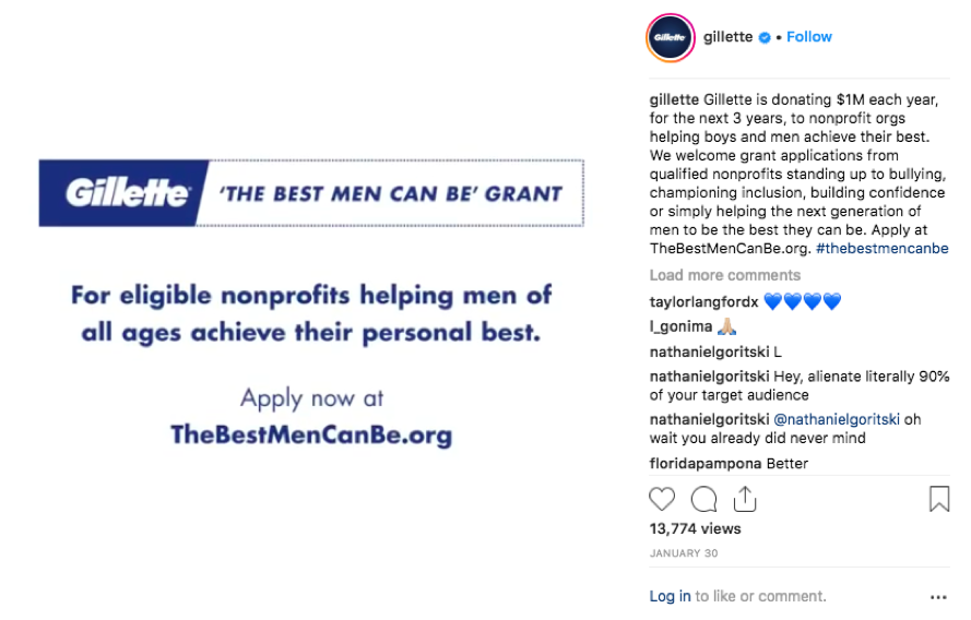 "Gillette will donate money to nonprofit organizations ""helping boys and men achieve their best."""