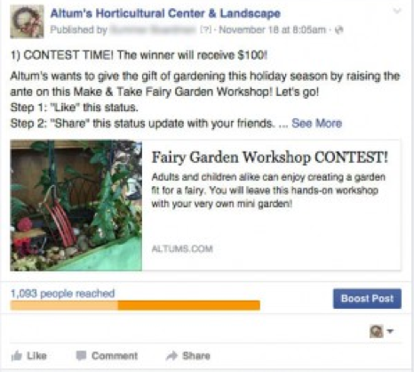 Social media contests, such as the one Altum's Horticultural Center & Landscape ran, can drive new engagement