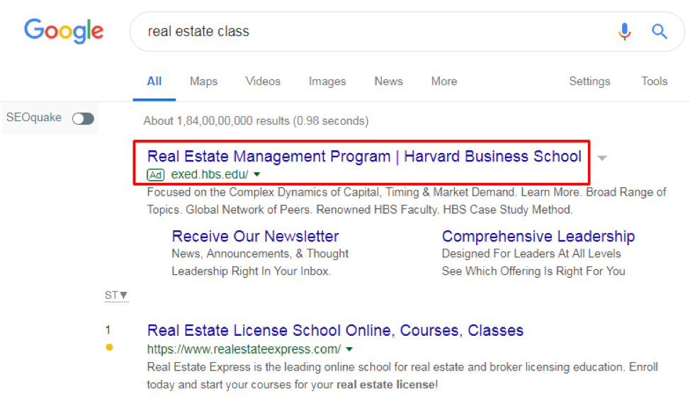 Harvard's PPC ad is visible above the organic search results