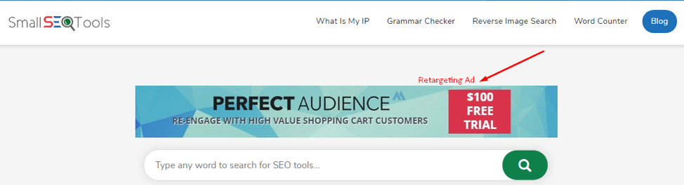 Perfect Audience uses remarketing tools to display its ads to people who visit its website