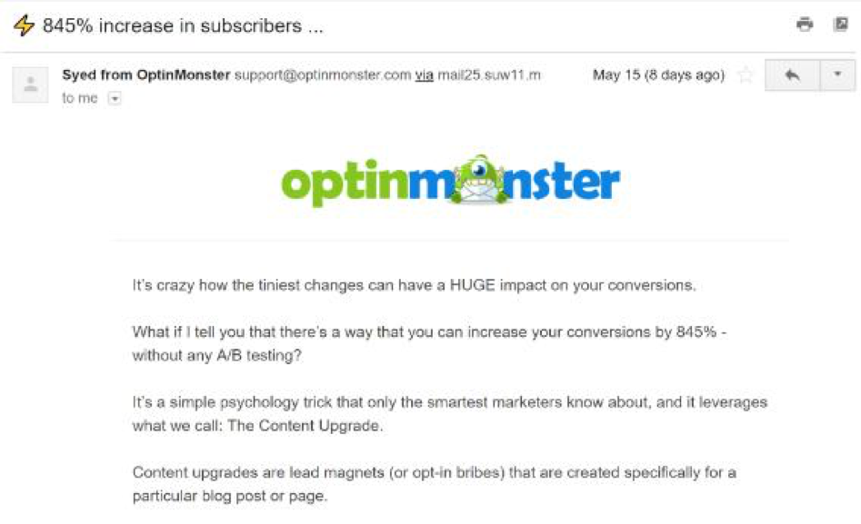 OptinMonster sends blog posts to engage its audience.