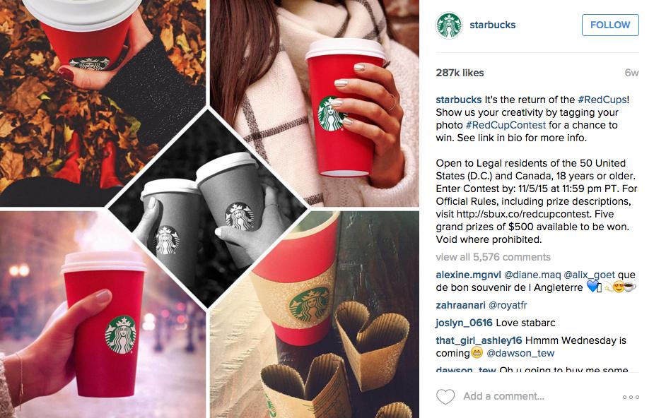 Starbucks Instagram post