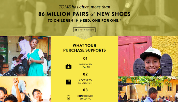 TOMS is often seen as a pioneer among socially-conscious brands
