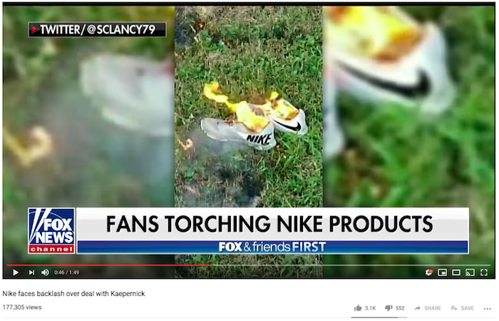 "In response to Nike's ""Dream Crazy"" commercial, people burned their Nike shoes"