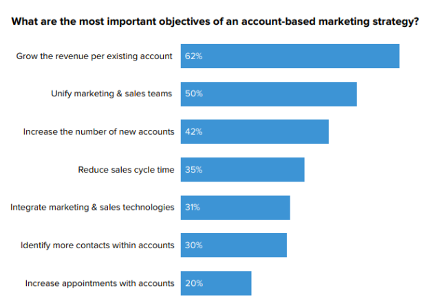 What are the most important objectives of an account based marketing strategy?
