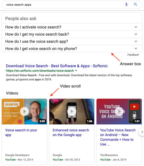 SERP Features - Answer Box, Video Scroll