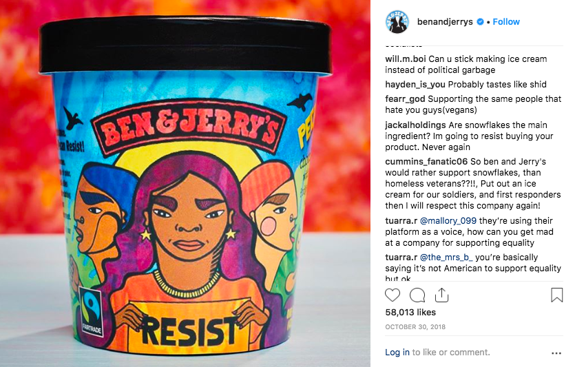 Ben & Jerry's makes clear that it does not support Trump's policies, earning it both praise and criticism.