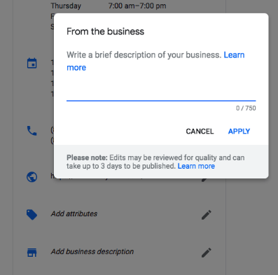 Google Business Descriptions