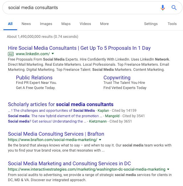 Social Media Consultants SERP