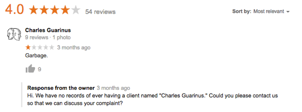 Charles Guarinus Bad Review