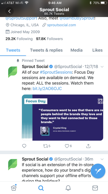 Sprout Social tweet