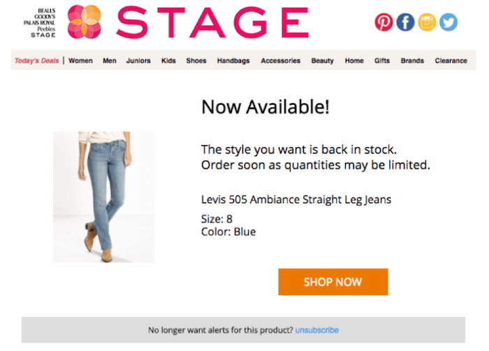 Stage product page