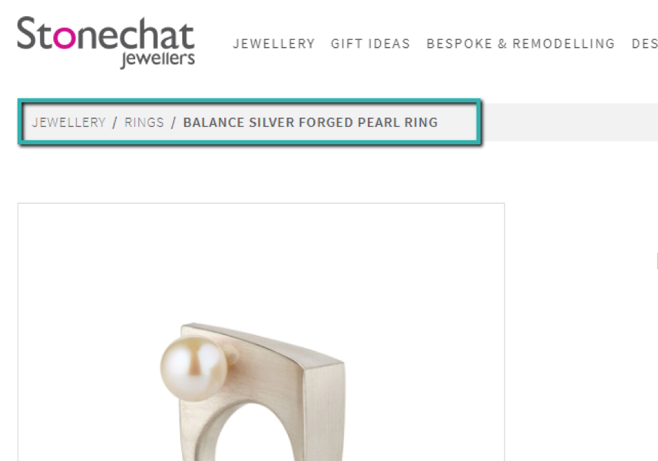 The Stonechat Jewelers homepage with links to product pages and specific sections