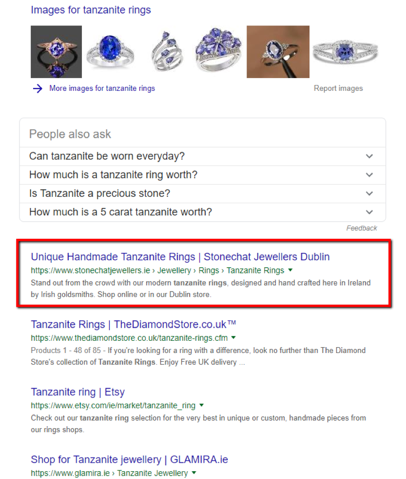 "Google results for the search term ""tanzanite rings,"" including images and links to retailers who sell them"