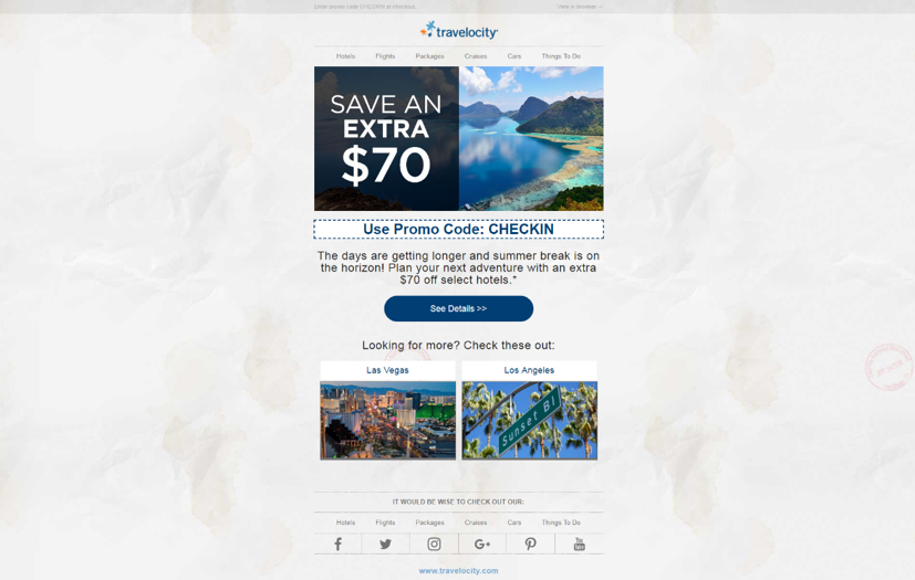 Travelocity CTA button in email