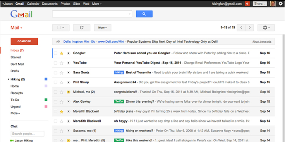 The old Gmail interface