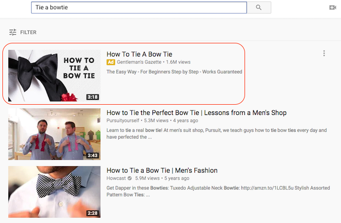 How to tie a bowtie youtube ad