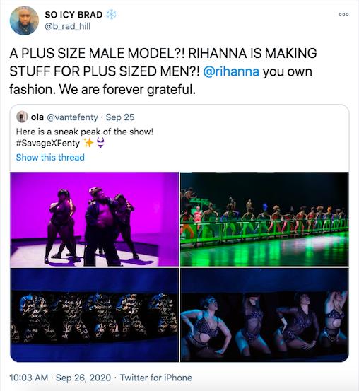 viral tweet about Savage X Fenty's diversity advertising