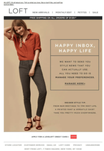 Loft_Email Marketing Example