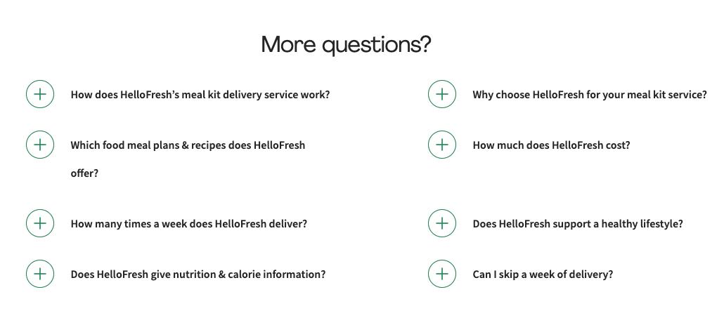 hello fresh FAQ