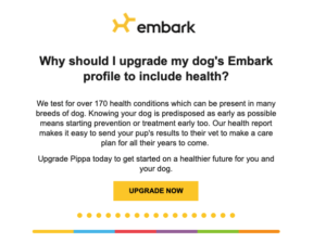 Embark upselling email efforts