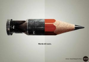 Words kill Wars ad