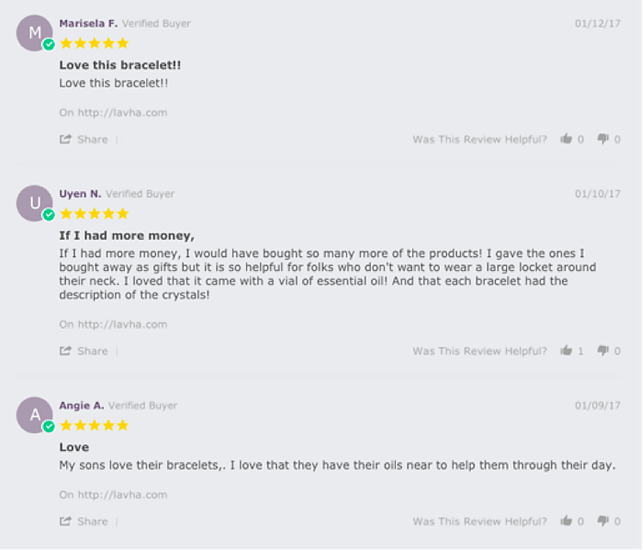 positive reviews of jewelry store on company's website