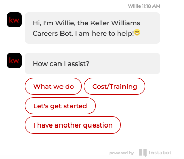 Keller Williams' Careers Bot uses AI to communicate with candidates.