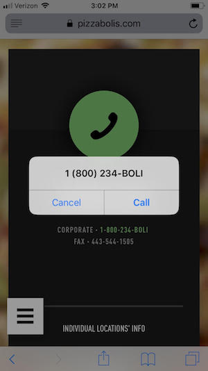 On a mobile friendly website, tapping a phone number allows you to automatically dial.